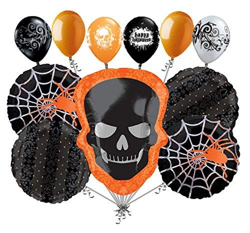 Skeleton Halloween Balloon Bouquet (11 pc Sophisticated Skeleton Balloon Bouquet Party Decoration Happy Halloween)