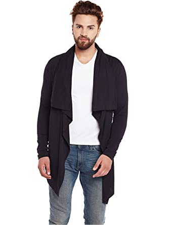 Chill Winston Black Color Cotton Waterfall Cardigan For Men ...