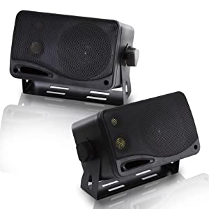 "3-Way Indoor Outdoor Speaker System - 3.5 Inch 200W Pair of Mini Box Ceiling Wall Mount Speakers w/ 1"" Tweeter, 3.25"" Woofer, 1.75"" Midrange - Home Theater Entertainment, PA System - Pyramid 2022SX"