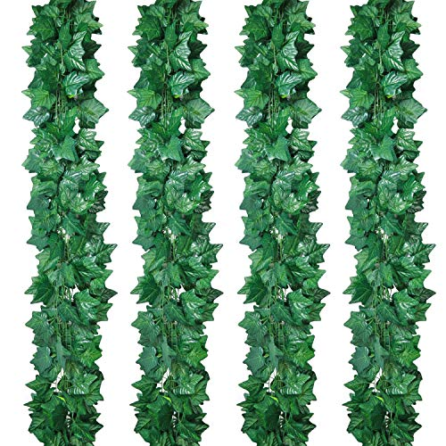 Pauwer 24 Pack (173FT) Artificial Ivy Vines Green Ivy Leaves Garland Hanging Fake Green Foliage Plants for Wedding Arch Party Backdrop Wall Decoration (Green Leaves)