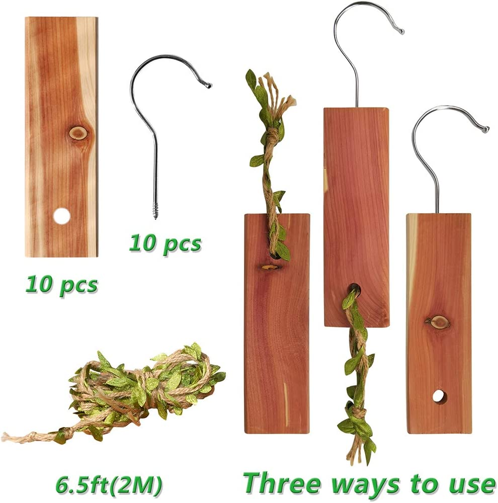 10pcs Cedar Hang Up /& Braided Rope with Light Cedar Fragrance Odor Protection for wardrobes /& Closet /& Drawers Storage