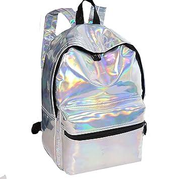 d77e4b8b9700 Felice Hologram Holographic Laser Reflective Backpack Book Bag Travel  Casual Satchel (silver)