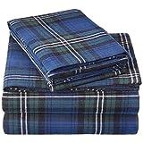 Pinzon 160 Gram Plaid Flannel Sheet Set - King, Blackwatch Plaid