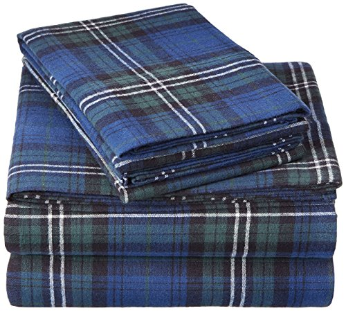Pinzon 160 Gram Plaid Velvet Flannel Sheet Set - Cal King, Blackwatch (King Cal Flannel Sheets)