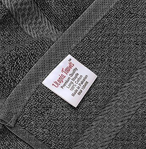 Massima morbidezza e assorbenza da parte di 4 Pezzi, 41x 71 cm// 16x28 pollici Set di Asciugamani Mani grigio - 100/% Cotone Utopia Towels Perfezionare per Hotel /& Spa