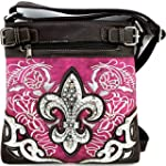 Rhinestone Fleur De Lis Messenger Bag Cross Body Purse Concealed Gun Pocket Purplish Pink