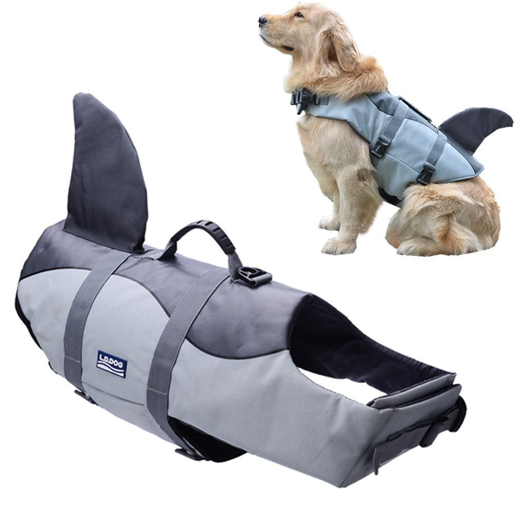 KOOLTAIL Dog Life Jacket - Safety Pet Adjustable Float Vest Pool Swimsuit Shark Style with Soft Handle for Summer Outdoor Swimming