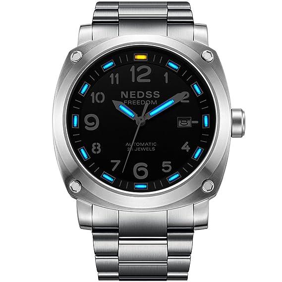 Marca de lujo nedss Gas de tritio reloj luminoso hombres reloj primera marca el Tritio reloj automático mecánico reloj Militar relojes: Amazon.es: Relojes