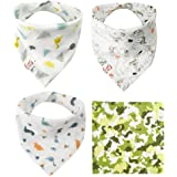 Dinosaur Bandana Bibs for Drooling and Teething Baby Unisex Absorbent Muslin Thin Breathable Bibs for Spring Summer Shower Gift 4 Pack- 1 Square Bandana and 3 Drool Bibs, Camouflage Dinosaur Green