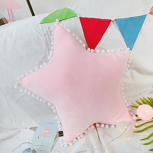 Mystery&Melody Creativo Estrella Cojines Bowknot Almohada Amortiguar Coche Cintura Almohada Cabecera Cushion Decoración Photo Props (Rosa-Estrella)