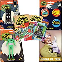 PopShoppes The Riddler (Batman Classic TV Series) PopBox Deluxe Set (Bendable Figure, Playing Cards, Bendable Keychain, Magnet and Button Set) Cool Value!