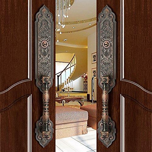 K6847 # Luxurious Mortise Lock Entry Entrance Front Door Handle Lockset (Double Door, Red Antique Bronze)