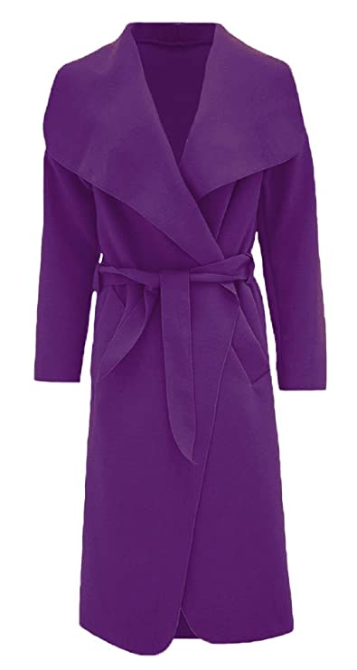 Coats, Jackets & Vests women Ladies Italian Long Duster Coat French Belted Trench Waterfall Jacket 8-16 Clothing, Shoes & Accessories