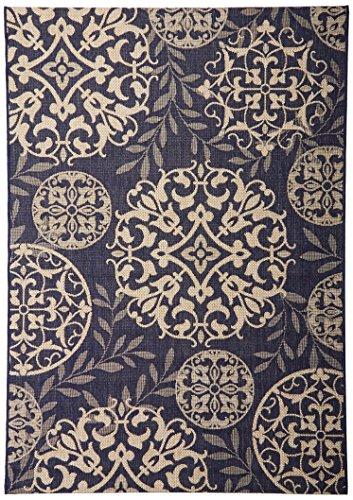 Outdoor Medallion Rug - Gertmenian 21352 Nautical Tropical Carpet Outdoor Patio Rug, 5x7 Standard Medallion Tan