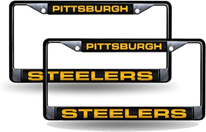 Bling License Plate Frame Set Rico Pittsburgh Steelers Chrome Metal 2