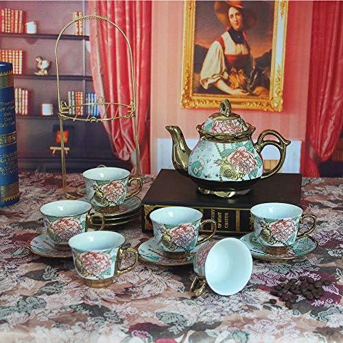 20 Piece European Ceramic Tea Set Porcelain Tea SetWith Metal Holder,flower tea set Red Rose Painting(Large version)