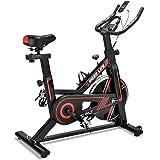 フィットネスバイク エクササイズバイク スピンバイク 心拍数測定 負荷調節 高機能デジタルメーター付き タブレットトレー付き  iDeer Life