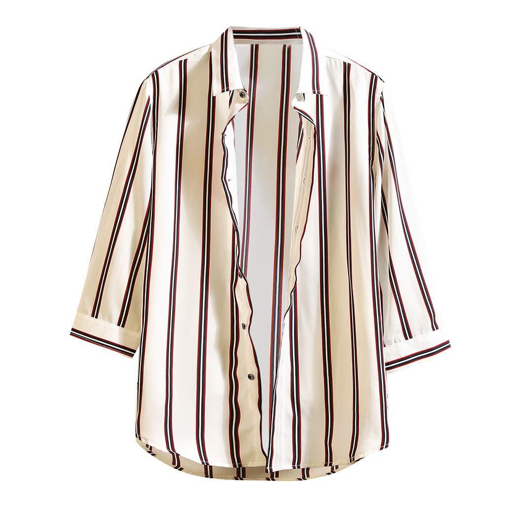 Mens Short Sleeve Stripe Button Up Shirt Summer Casual Cool Thin Breathable T Shirts Tops Teresamoon