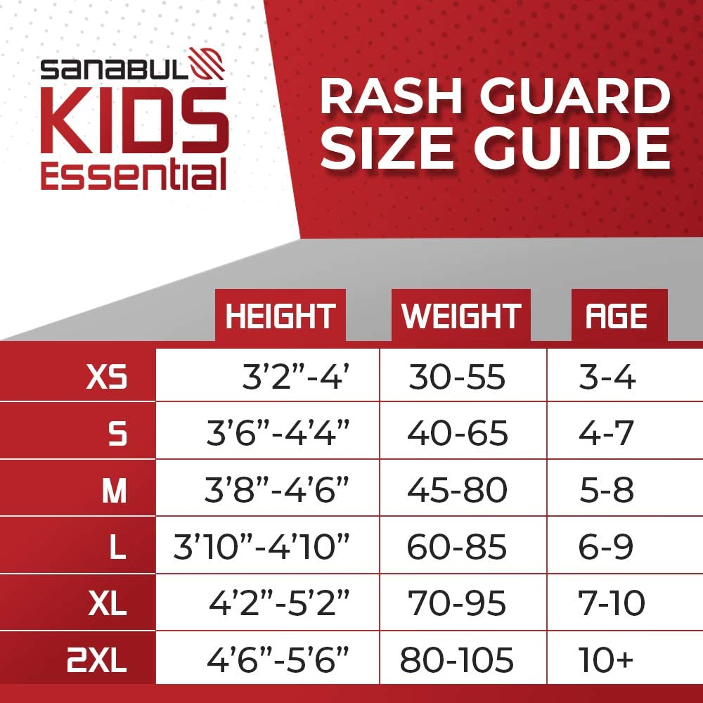Sanabul Kids Essentials Long Sleeve Training Rash Guard for MMA BJJ Wrestling