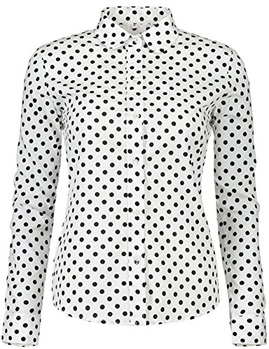 DOKKIA Women's Tops Feminine Long Sleeve Polka Dotted Button Down Work Dress Blouses Shirts (X-Large, Black White)