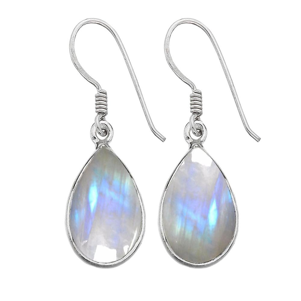 12.00ct,Genuine Rainbow Moonstone & 925 Silver Plated Dangle Earrings Made By Sterling Silver Jewelry