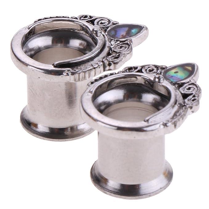 P Prettyia 2pcs Calibradores de Oído, Astas de Alce/Gota de Agua - como la Imagen, 8 mm: Amazon.es: Hogar