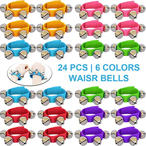 ZISUEX 24PCS Band Wrist Bells Jingle Bells Instrument Percussion Musical Orchestra Rattles Party Favors Toys Wrist Bells and Ankle Bells KTV Birthday ()