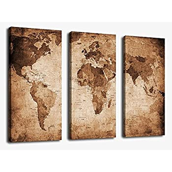 canvas wall art vintage world map painting ready to hang 3 pieces large framed old