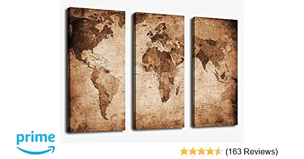 Amazon canvas wall art vintage world map painting ready to hang amazon canvas wall art vintage world map painting ready to hang 3 pieces large framed old map canvas art retro antiquated map of the world pictures gumiabroncs Image collections