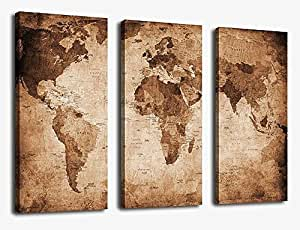 Amazon canvas wall art vintage world map painting ready to hang canvas wall art vintage world map painting ready to hang 3 pieces large framed old gumiabroncs Images