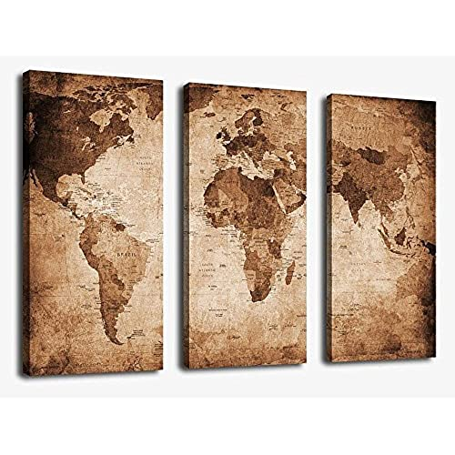 Canvas Wall Art Vintage World Map Painting Ready To Hang   3 Pieces Large  Framed Old Map Canvas Art Retro Antiquated Map Of The World Pictures  Abstract ...