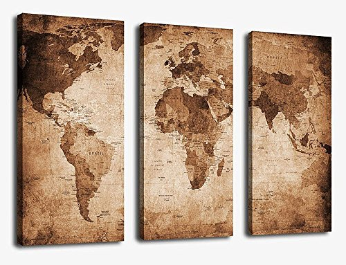 Canvas Wall Art Prints Vintage World Map Painting Ready to Hang - 3 Pieces Large Framed Canvas Art Retro Antiquated Map of the World Painting Abstract Picture Artwork for Home - Indoor Day Ideas Valentines