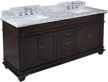 Elizabeth 72 Inch Bathroom Vanity Carrara Chocolate Includes