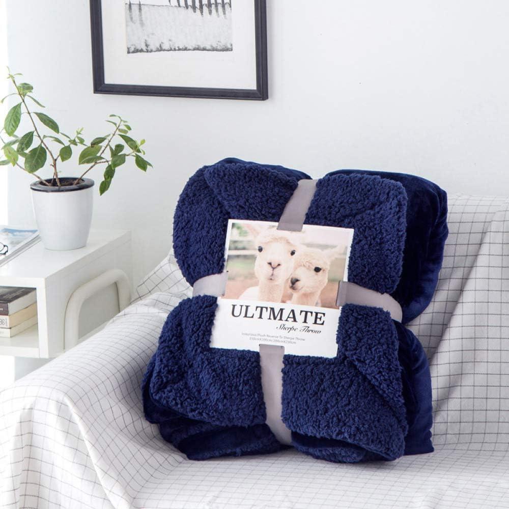 Manta de engrosamiento doble de color sólido engrosamiento individual sofá doble aire acondicionado cubierta de siesta manta alfombra de coral piedra preciosa de invierno azul 150 * 200 cm