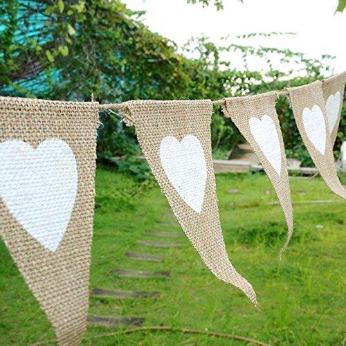 13 banderines de tela de yute bodas para bodas estilo vintage banderines blancos fiestas banderas de coraz/ón decoraci/ón r/ústica
