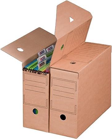Smartbox Pro - Juego de cajas archivadoras (base automática para carpetas colgantes, 10 unidades), color marrón: Amazon.es: Oficina y papelería