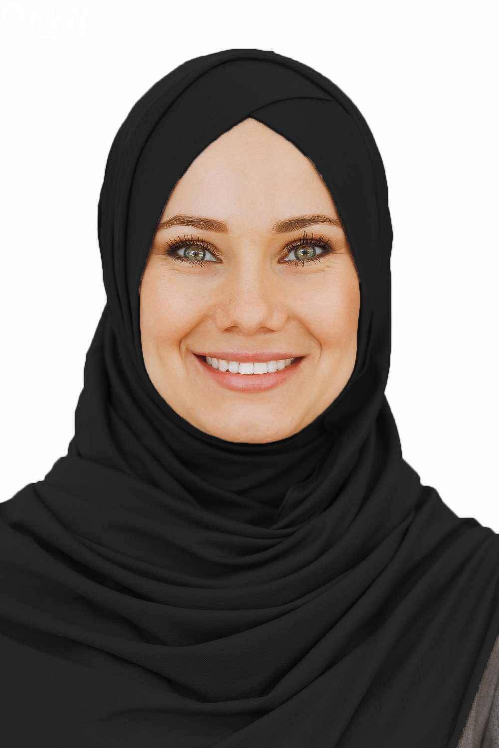Cotton head scarf, instant black hijab, ready to wear muslim accessories for women (Black) by VeilWear (Image #2)