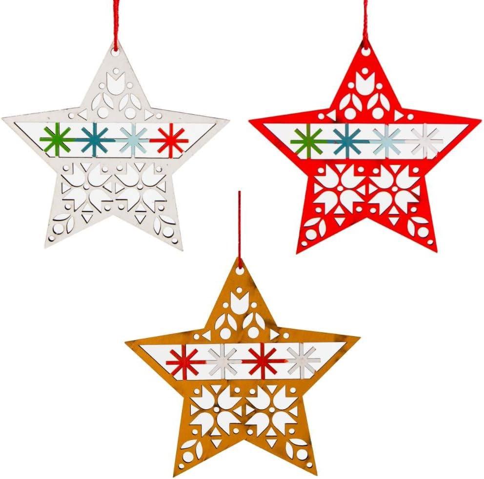 Gisela Graham Set of 2 Large Gold Star Christmas Tree Decoration