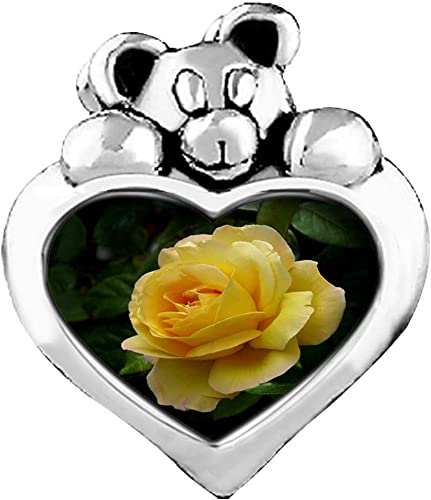 GiftJewelryShop Silver Plated Yellow Rose Photo Heart Charm Beads Bracelets European Bracelets Compatible