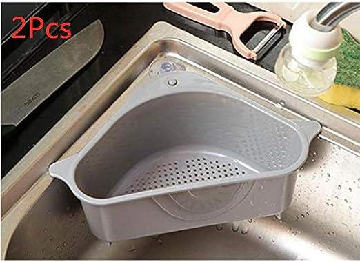 Triangle Sink Drain Basket Sucker Holder Organizer Corner Storage Rack  Drainer