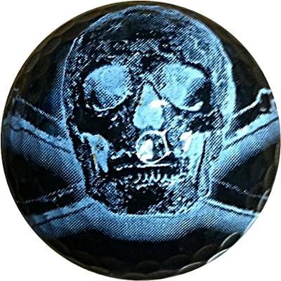 GBM Golf Miscellaneous Novelty 3 Ball Sleeve, Black Skull