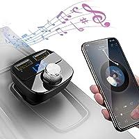 Transmetteur FM Bluetooth, Kit de Voiture sans Fil Adaptateur Radio Chargeur de Voiture avec Double Port USB 5V/2.4A & 1A/ Fente pour Carte TF pour iPhone 7 7 Plus, Galaxy S7 S6, Huawei P9 P8 (Noir)