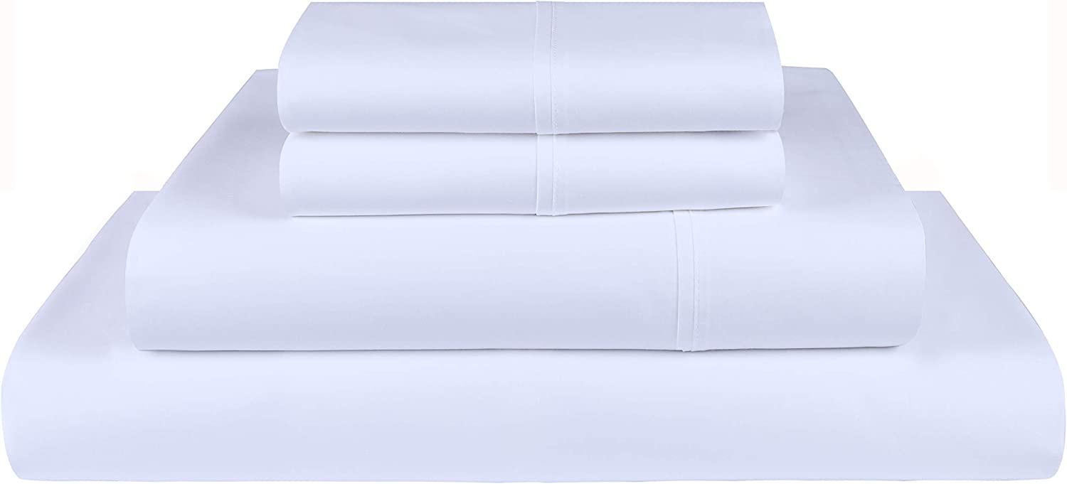 Threadmill Home Linen 300 Thread Count King Sheet Sets - 100% Long Staple Cotton Sheets for King Size Bed, Luxury 4 Piece Set with Deep Pocket Fitted Sheet, Smooth Solid Sateen Weave, White