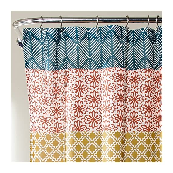 """Lush Decor 16T000209 Bohemian Striped Shower Curtain Colorful Bold Design, 72"""" x 72"""", Turquoise and Orange - Soft,  100% polyester fabric bathroom shower curtain with a bold,  cute and unique design to enhance  your space. Fun,  decorative design with floral and geometric striped patterns for a mix of modern and boho style shower curtain. Lush Décor Boho stripe shower curtain is the ideal piece for your rustic,  yet chic,  bohemian bathroom decor. - shower-curtains, bathroom-linens, bathroom - 61Xlku 1XXL. SS570  -"""