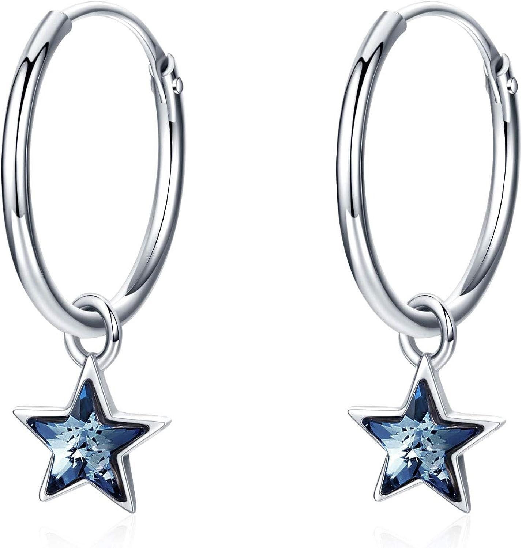 sélectionnez les couleurs Étoile Double Zircon Clou Argent Sterling 925 post Boucles d/'oreilles
