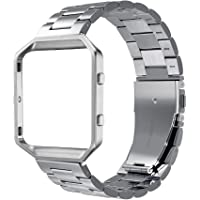 Simpeak Fitbit Blaze Band Frame, Stainless Steel Band with Metal Frame for Fit bit Blaze Smart Fitness Watch (Match Link…