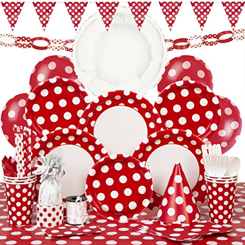 Deluxe Red Polka Dot Party Supplies Kit for (Birthday Deluxe Party Kit)