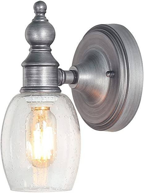 Amazon Com Log Barn Bathroom Vanity Light Vintage Brushed Silver Finish Wall Sconce Lamp With Seed Glass A03349 Home Kitchen