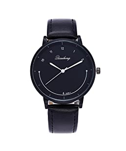 Luxsea Women Fashion Quartz Leather Watch Simple Scale Smiling Face Casual Ladies Accessories Dress Watches