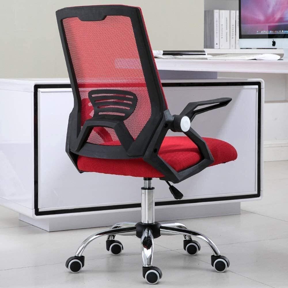 Barstolar datorstol, hög rygg räcke justerbar nätsäte ergonomi fåtölj upphöjd roterande verkställande stol för student sovsal kontor nät ryggstöd justerbart armstöd (färg: grå) Röd